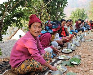 Wedding banquet in the village in Nepal.