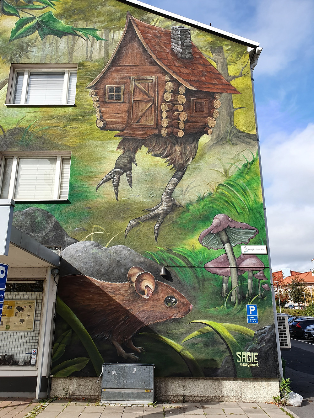 Sagie from Gothenburg, Sweden did this Street Art piece for Artscape Saga, inspired by the russion fairytale of Baba Yaga.