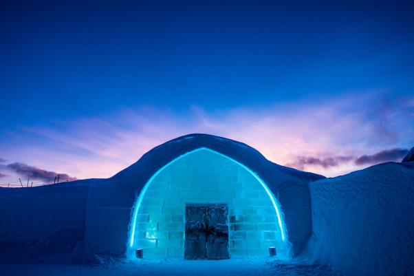 Entrance to ICEHOTEL 365. ICEHOTEL is located in swedish Lapland in Jukkasjärvi, just outside Kiruna in Sweden and is the first hotel ever in the world built completely in ice and snow. This is a comprehensive Guide to ICEHOTEL in Sweden. in