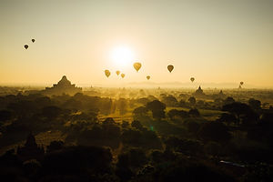 Bagan Baloon Festival. An array of Baloons in the sunset of Bagan, Myanmar.