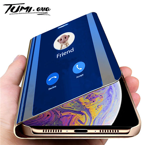 Luxury Smart Mirror Flip Phone Case for iPhone Leather Holder Standing