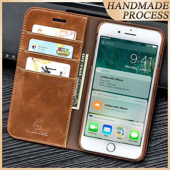 Musubo Genuine Leather Flip Case for iPhone and SAMSUNG