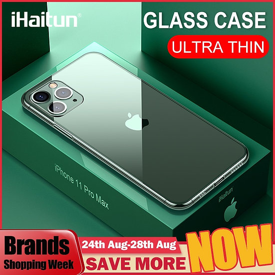 iHaitun Luxury Glass Case for iPhone Ultra Thin Transparent Glass Cover