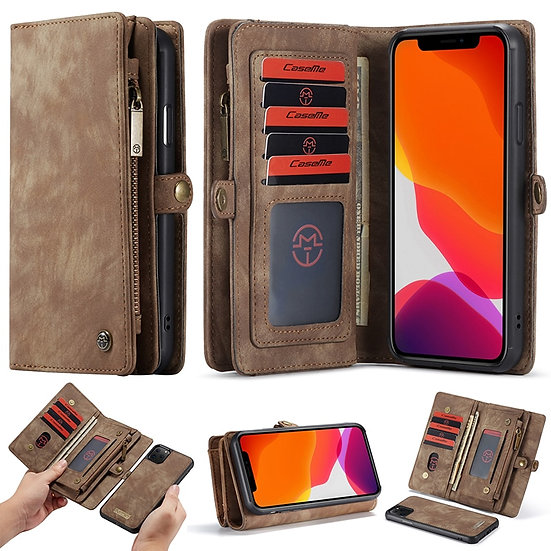 For iPhone  Wallet Case Zipper Flip Leather Cover Magnetic Phone Case