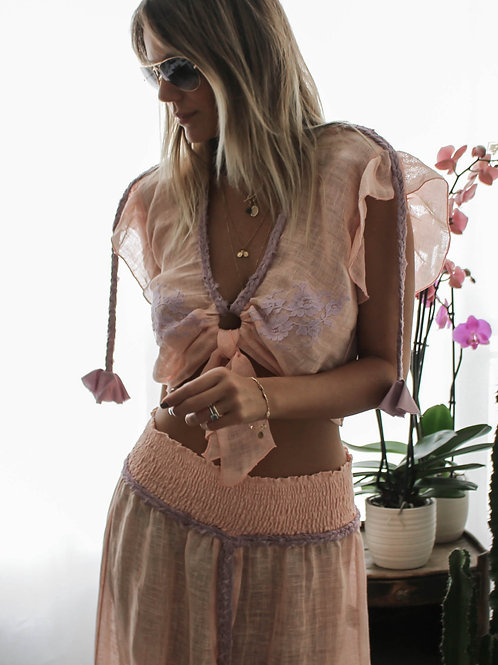 Croptop Kim Linen & lace 6 colours available