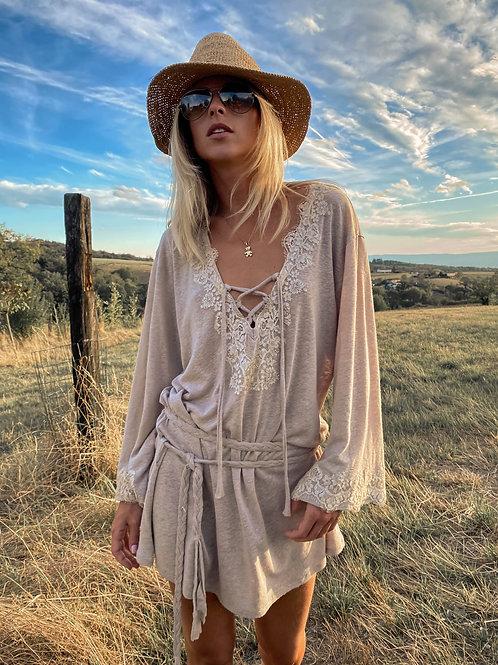 Kate Dress Mix Linen & lace