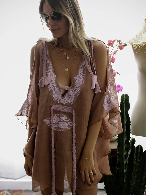 Kris Caftan Linen & lace