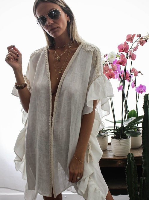 Kill Short Vest Linen & lace