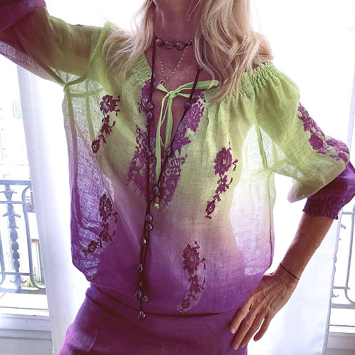 Romaine Blouse with Elastic Linen - 7 Colors Available