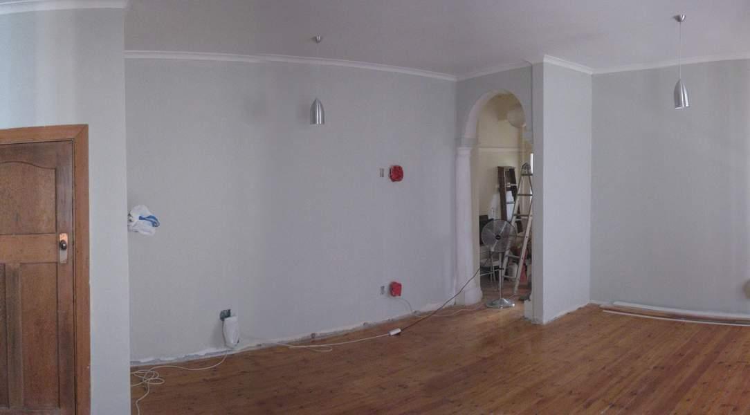 Repair floor, sand and varnish
