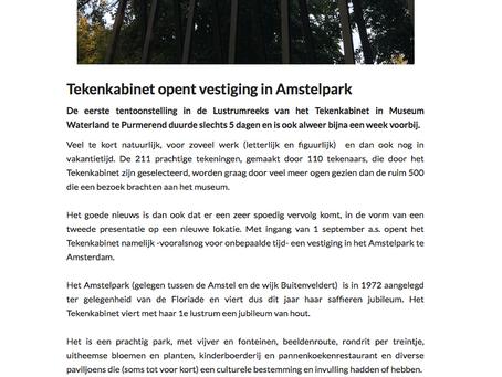 Tekenkabinet in het Amstelpark