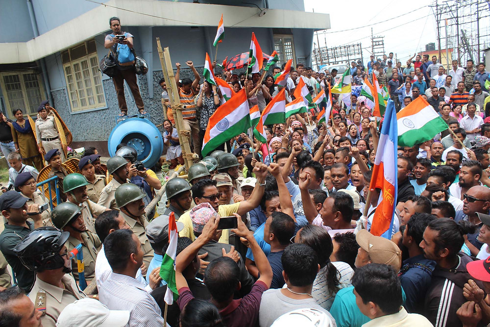 A file foto of a people's rally outside the DM's office in Kalimpong