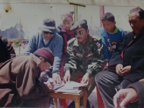 The final handing over of the Dharmastal at Gurudongmar by the Army to Lachen Dzumsa in April 2001.