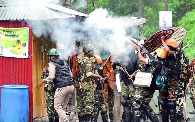 A file photo of police and GJM supporters clashing