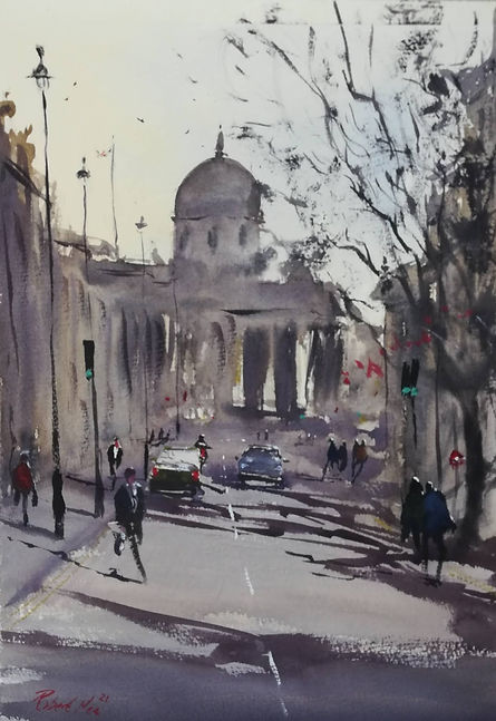 """Original Watercolour Painting by Robert Mee. Special Edition inspired by the Monopoly game. 'Pall Mall' 11"""" x 15"""""""