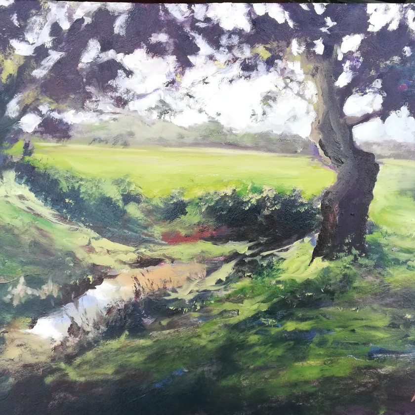 Oil painting trees by the brook