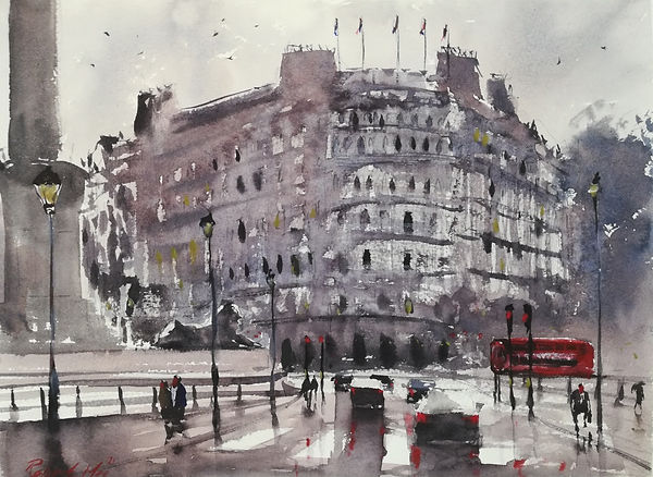 """Original Watercolour Painting For Sale. Special Edition inspired by the Monopoly board game. 'Strand' London Cityscape. 11"""" x 15"""""""