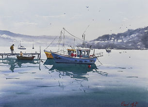 "Original Watercolour Painting by Robert Mee. 'A nice day to go fishing' 11"" x 15"" Fishing boats"