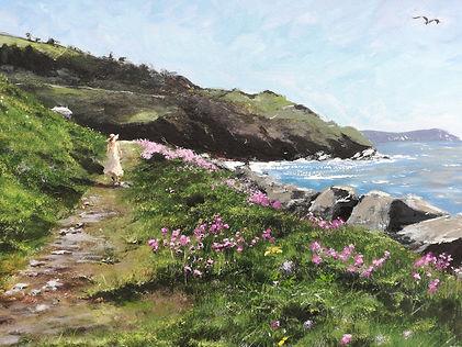 Original Oil Painting Aberaeron Coastal Path, West Wales Coast, Ceredigion coastline seascape cliffs summer walk