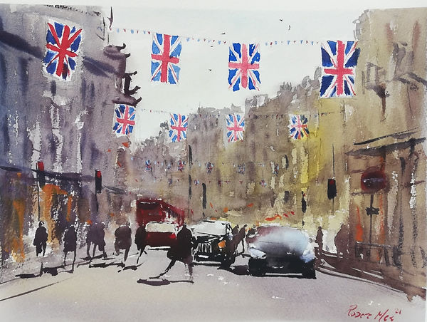 """Original Watercolour Painting For Sale. Special Edition watercolour painting inspired by the Monopoly board game. 'Regent Street' London cityscape union jack flags. Atmospheric impressionistic watercolour painting london streets. 11"""" x 15"""""""
