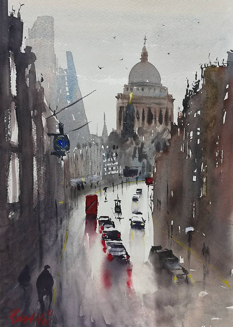 """Original Watercolour Painting For Sale. Special Edition inspired by the Monopoly board game. 'Fleet Street' london cityscape. 11"""" x 15"""""""