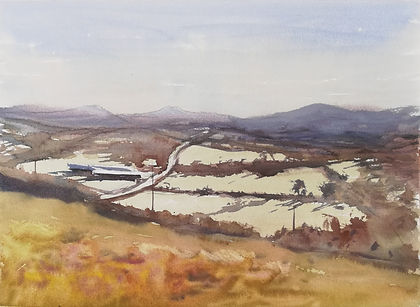"Original Watercolour Painting For Sale. Painted en plein air. Snowdonia National Park mountains landscape. 11"" x 15"""