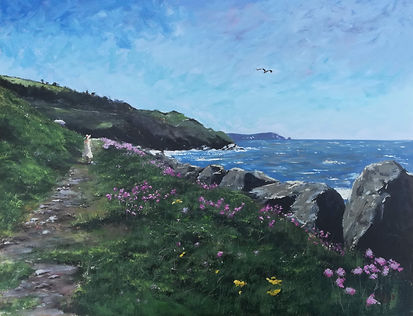 "Original Oil Painting. 'Looking out to sea' Aberaeron Coastal Path, West Wales, UK. Seascape. 16"" x 20"" Oil on panel"