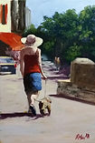 """Original Oil Painting. Lady walking dog. Commissioned painting commissions. 9"""" x 12"""""""