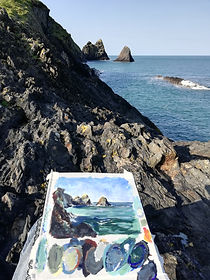 Plein air oil painting sketch. Ceibwr coastline, Pembrokeshire, West Wales, UK