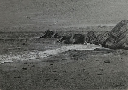 "Original Pencil Drawing. New Quay beach, Ceredigion, West Wales, UK. 9"" x 12"""