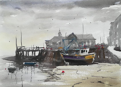"Original Watercolour Painting For Sale. Painted en plein air. Aberdyfi, Mid Wales Coast. Fishing boats harbour. 11"" x 15"""