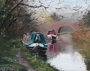 """Original Oil Painting For Sale. Canal boats moored by bridge. Atmospheric landscape. 8"""" x 10"""" Oil on stretched canvas"""