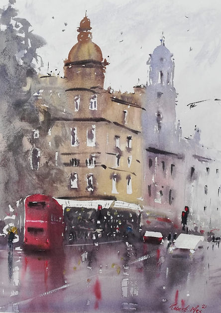 """Original Watercolour Painting by Robert Mee. Special Edition inspired by the Monopoly game. 'The Angel, Islington' 11"""" x 15"""""""