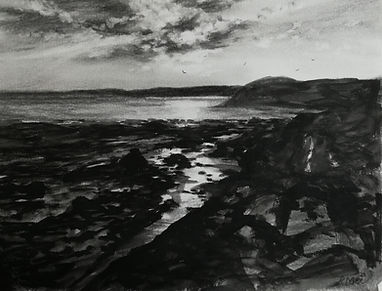 Original Charcoal Drawing. Manorbier Beach, Pembrokeshire, South West Wales, UK. 30cm x 40cm