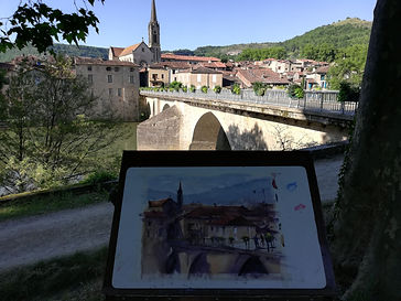 "Original Watercolour Painting plein air. Saint-Antonin-Noble-Val, France. 11"" x 15"""