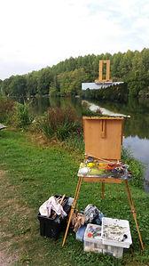 "Original Plein Air Oil Painting. La Seine Riverside. 12"" x 16"""