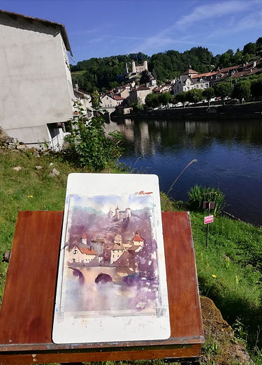 "Original Watercolour Painting En Plein Air. Laroquebrou, Cantal, South Central France. 11"" x 15"""