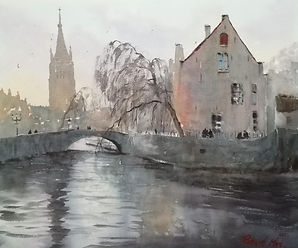 "Original Watercolour Painting. Quay of the Rosary, Bruges. 15"" x 18"""