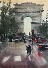 "Original Watercolour Painting. Arc de Triomphe, Paris, France. 11"" x 15"""