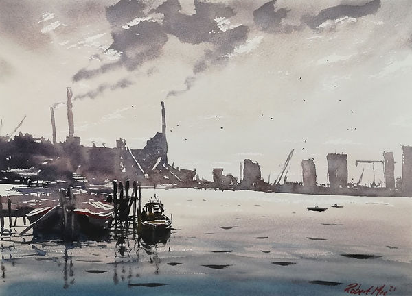 """Original lWatercolour Painting For Sale. Special Edition inspired by the Monopoly board game. Battersea Power Station, London landscape. Thames. 11"""" x 15"""""""