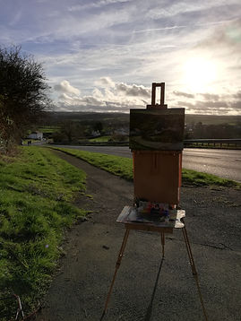 "Original plein air oil painting. Ffosyffin, Ceredigion, West Wales, UK. 12"" x 16"" Oil on panel"