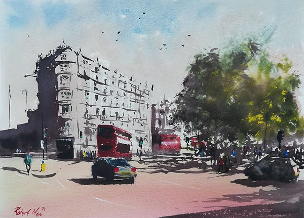 """Original Watercolour Painting For Sale. Special Edition inspired by the Monopoly board game. 'Park Lane' 11"""" x 15"""""""