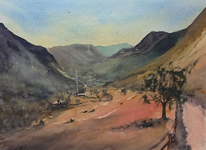 "Original Watercolour Painting For Sale. Snowdonia Mountains, North Wales Landscape. 11"" x 15"""