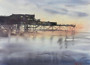 """Original Watercolour Painting For Sale. Aberystwyth Pier, West Wales, UK. Atmospheric impressionistic watercolour. 11"""" x 15"""""""