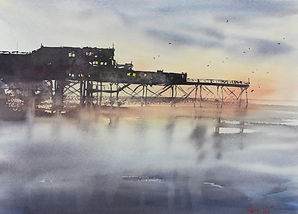 "Original Watercolour Painting For Sale. Aberystwyth Pier, West Wales, UK. Atmospheric impressionistic watercolour. 11"" x 15"""