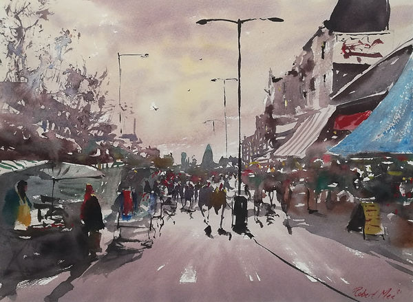 """Original Watercolour Painting For Sale. Special Edition inspired by the Monopoly board game. London Cityscape. 'Whitechapel Road' 11"""" x 15"""""""