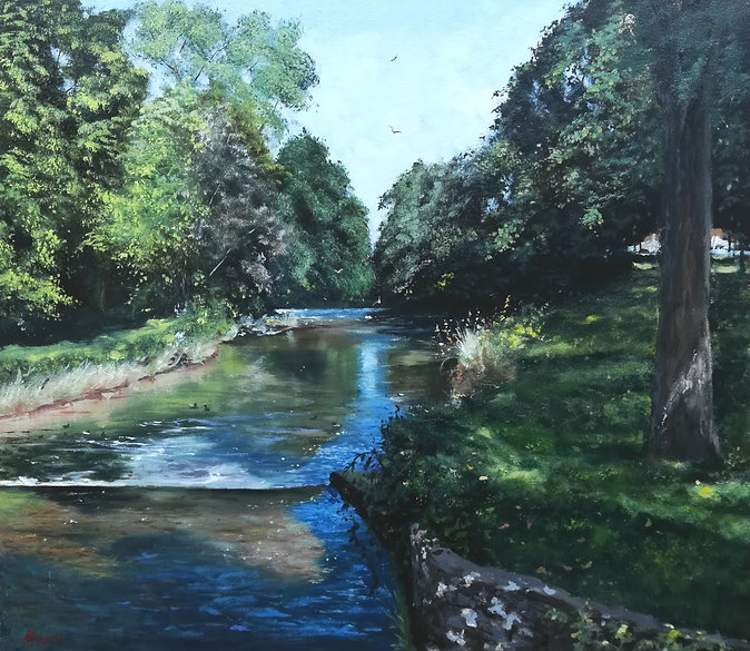 "Original Oil Painting. River Aeron, Abereron, Ceredigion, West Wales, UK. 16"" x 18"" oil on panel Robert Mee"
