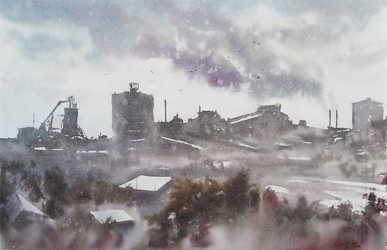 """Original Watercolour Painting. Port Talbot skyline, South Wales, UK. Industrial skyline town. 22"""" x 15"""""""