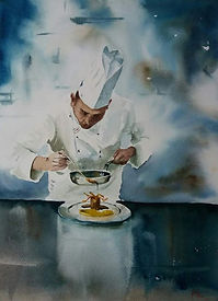 "Original Watercolour Painting. Chef cooking kitchen restaurant. 12"" x 16"""