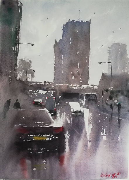 """Original Watercolour Painting by Robert Mee. Special Edition inspired by the Monopoly game. 'Old Kent Road' 11"""" x 15"""""""